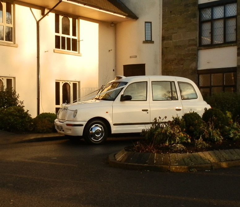 London Taxi Wedding Car outside Priest House Hotel