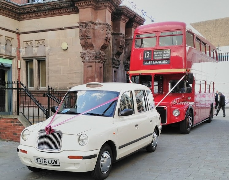 London Taxi Wedding Car and London Bus at Royal Oak House Derby