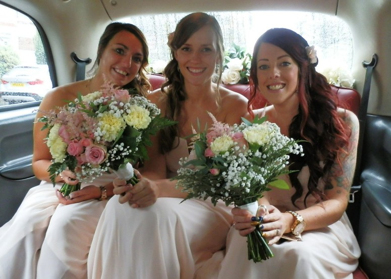 Bridesmaids in London Taxi Wedding Car at Mansfield Manor Hotel