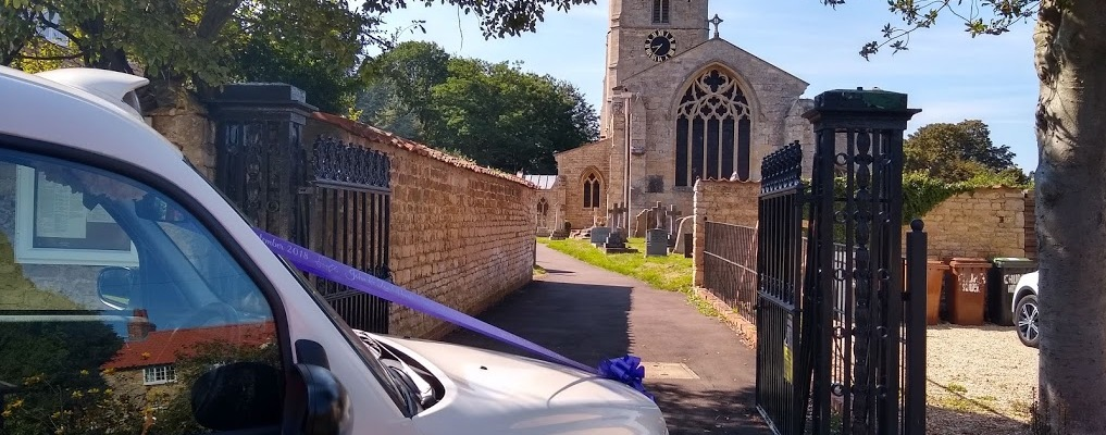 London Taxi Wedding Car outside Church in Lincolnshire