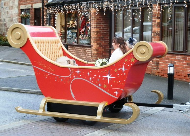 Bride in sleigh for Christmas Wedding at Morley Hayes