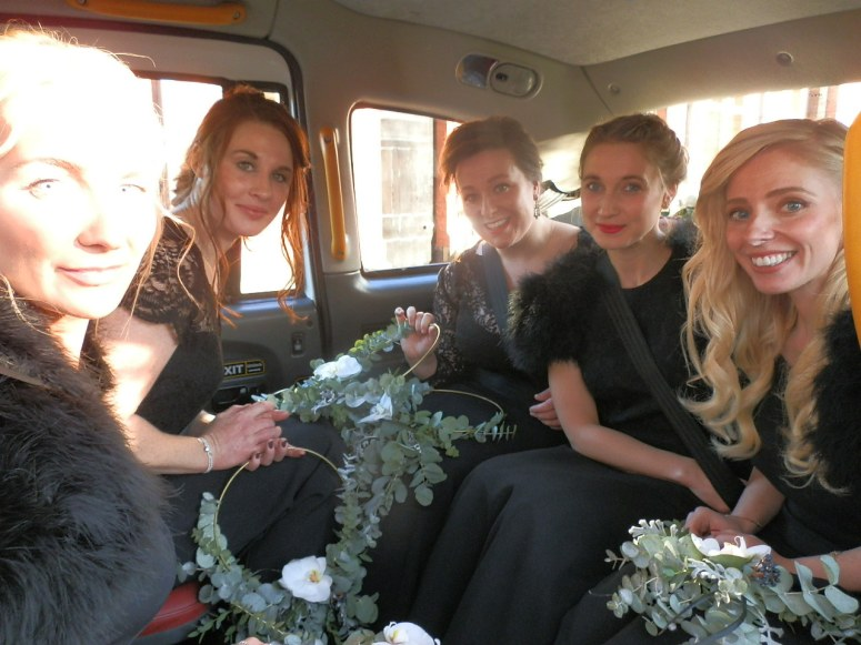 Bridesmaids in London Taxi Wedding Car at the Pumping House Ollerton