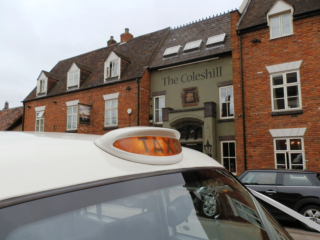 London Taxi Wedding car waiting outside The Coleshill Hotel