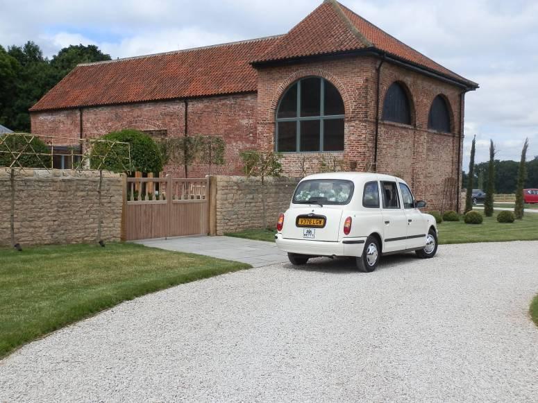 London Taxi Wedding Car at Hazel Gap Barn