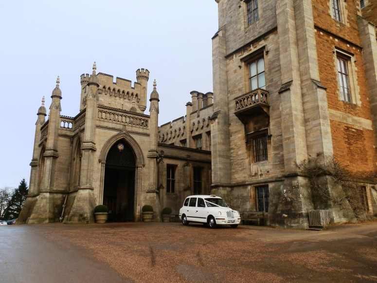 London Taxi Wedding car at Belvoir Castle at Christmas